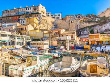 """Marseilles, France, March 2018, """"Vallon Des Auffres"""" bay in the 7th district by the Mediterranean sea"""