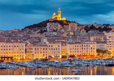 Marseilles. Notre Dame de la Garde Cathedral at sunset.