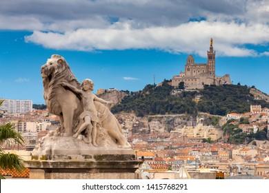 Marseilles. Notre Dame de la Garde Cathedral on a sunny day.