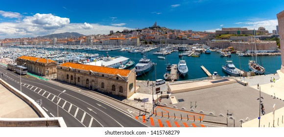 Marseilles. Panoramic view of the old port and the Cathedral of Notre Dame.