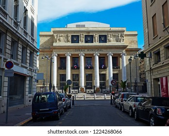 MARSEILLES PROVENCE FRANCE - 7TH JULY 2014; Facade of the 'Marseille Opera House' (Opera de Marseille) opera company in 1924, architect Ebrard, Castel and Raymond