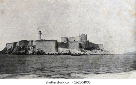 MARSELLE - 1900s: Antique photo of Chateau d'If, famous prison mentioned in Dumas Monte Cristo novel, Marseille, France , 1900s