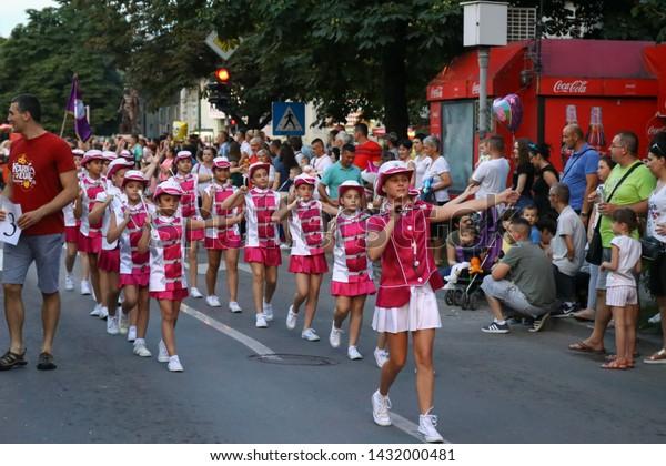 Marsh participants karanavala. Annual summer carnival. Pancevo, Serbia, June 22, 2019