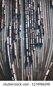 A marshaling yard with many tracks seen from above.