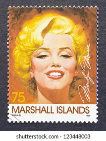 MARSHALL ISLANDS -Â?Â? CIRCA 1995: a postage stamp printed in Marshall Islands showing an image of Marilyn Monroe, circa 1995.