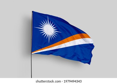 Marshall Islands flag isolated on white background with clipping path. close up waving flag of Marshall Islands. flag symbols of Marshall Islands. Marshall Islands flag frame with empty space for your