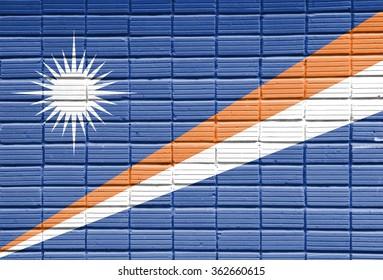 Marshall Islands Flag painted on brick wall