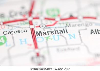 Marshall. Michigan. USA on a geography map.