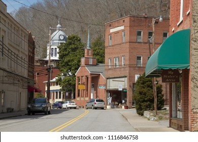 MARSHALL, NORTH CAROLINA, USA - MARCH 17, 2018: The center of downtown Marshall, North Carolina, a small town tucked away in the mountains ofi western North Carolina on March 17, 2018