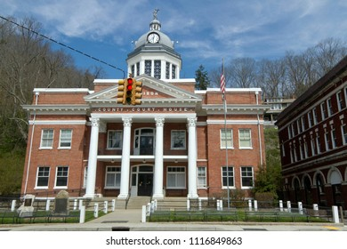 MARSHALL, NORTH CAROLINA, USA - MARCH 17, 2018: Madison County Court House in Marshall, NC, a historical building built in 1907 and designed by Richard Sharp Smith