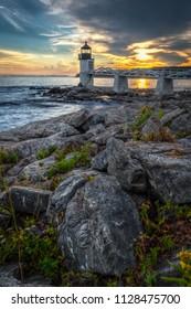 Marshall Point Light and Rocks on Coastline - Port Clyde, Maine, USA