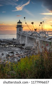 Marshall Point Light From Shoreline - Port Clyde, Maine, USA