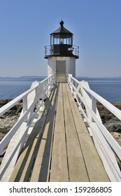 Marshall Point Lighthouse looking toward Penobscot Bay, Port Clyde, St. George Peninsula, Maine, USA.
