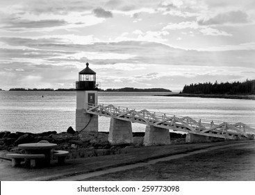 Marshall Point Lighthouse at sunset in black and white