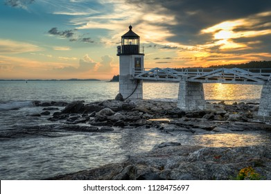 Marshall Point Lighthouse at Sunset - Port Clyde, Maine, USA