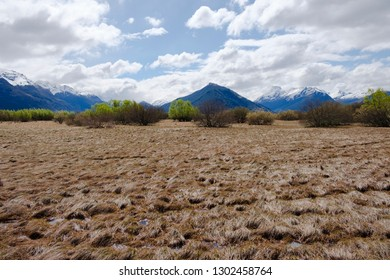 Marshland with Mountains in Glenorchy, South Island, New Zealand