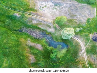 Marshland view from above. Spring landscape shot from the air.