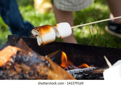 Marshmallow barbecue - a popular way to prepare these soft sweets