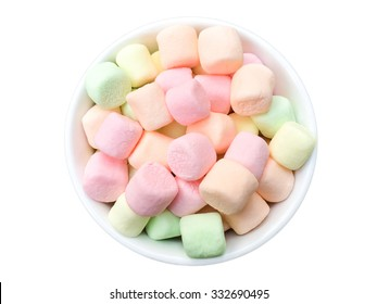 marshmallow in bowl on white background