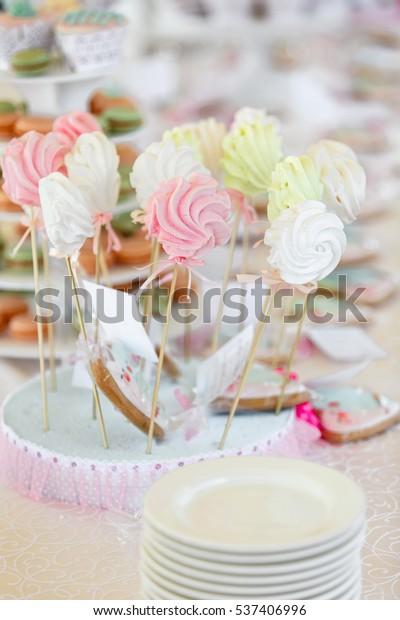 Marshmallow Candy Lollipop On Wedding Birthday Stock Photo (Edit Now
