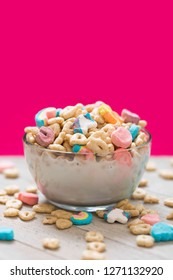 Marshmallow Cereal in a Clear Bowl with Milk