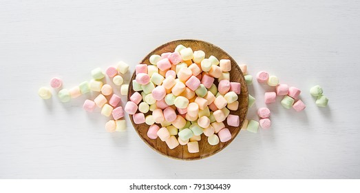 marshmallow colorful. birthday, light white background