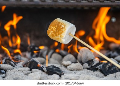 Marshmallow cooked on the fire. Marshmallow bbq.