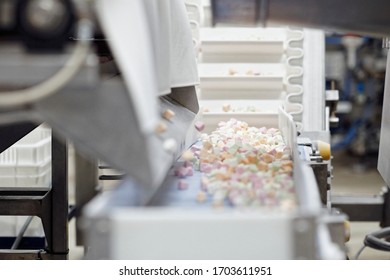 Marshmallow factory detail on a candy on conveyor belt