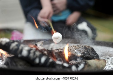 Marshmallow roasting over an open camp fire