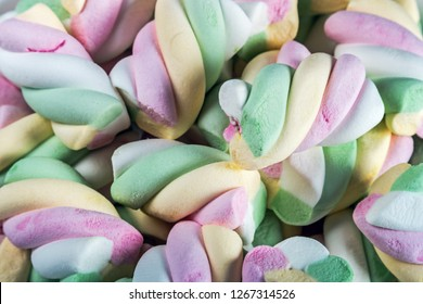 marshmallow sweets have a lot of color background. Various sweets