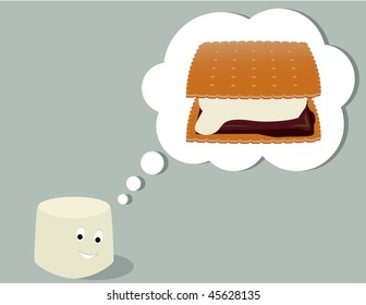 Marshmallow thinking of smore - jpg version
