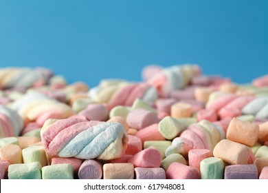 Marshmallows, Colorful twisted marshmallows, Closed up of Marshmallows, marshmallows texture and pattern. Soft focus