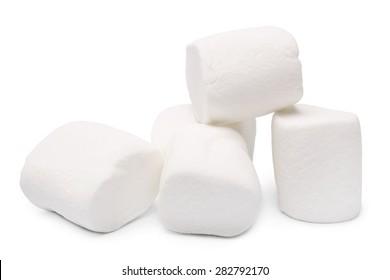 Marshmallows on white background