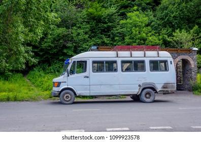 Marshrutka, minibus local transportation in Georgia