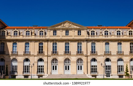 MARSIGLIA,FRANCIA-APRIL,2018 : view of the facade of the Palace of Pharo/the Palace of Pharo is located in Marseille,in a panoramic position overlooking in the old port and the new port