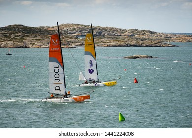 MARSTRAND, SWEDEN - JULI 3, 2019: GKSS Match Cup Sweden - Sailing fast Catamaran M32 Boat Race, competition Men And Woman on Swedish Ocean Race.