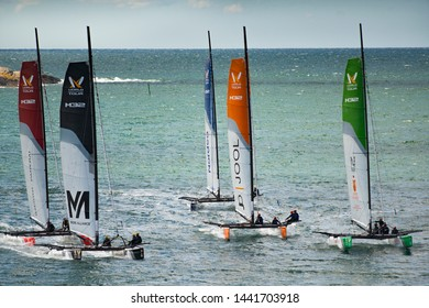 MARSTRAND, SWEDEN - JULI 3, 2019: GKSS Match Cup Sweden - Big Boat Race M32 Catamaran Competition at Marstrand Sweden - Strong Wind Boat Race for Men and Woman compete for Trophy .