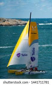 MARSTRAND, SWEDEN - JULI 3, 2019: GKSS Match Cup Sweden - Big Boat Race M32 Catamaran Competition at Marstrand Sweden - One Big Boat Catamaran Sailing Windy condition at Marstrand Race in Sweden.