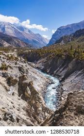 Marsyandi river valley. Himalayan mountains of Nepal. Annapurna circuit trek