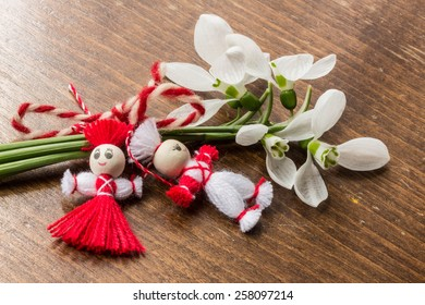 Martenitsa-traditional Bulgarian custom - with snowdrops