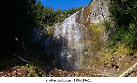 Martha Falls Waterfall along the Wonderland Trail in USA.