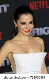 "Martha Higareda attends the Netflix ""Bright"" premiere on Dec. 13, 2017 at the Regency Village Theatre in Los Angeles, CA."