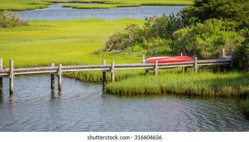 Martha's Vineyard dock with canoe