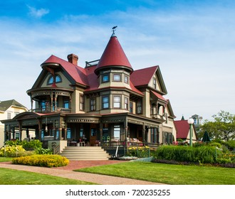 Martha's Vineyard, MA – Jul 21, 2017: The Corbin Norton House (Peter Norton), totally destroyed by fire in 2001, fully restored to its original Queen Anne style residence completed in 2004.