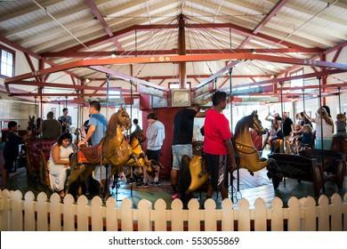 MARTHA'S VINEYARD, MA-September 2, 2016: Flying Horses carousel. Flying Horses is America's oldest carousel.