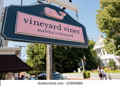 MARTHA'S VINEYARD, MA-September 2, 2016:  Vineyard Vines sign in Martha's Vineyard.  Vineyard Vines was founded in 1998.