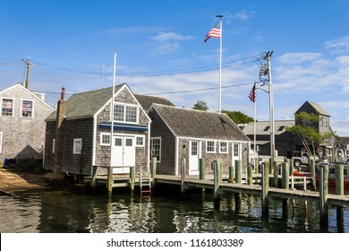 MARTHA'S VINEYARD, MASSACHUSETTS - August 24, 2015: Views of traditional colonial houses in front of the sea in the town of Edgartown