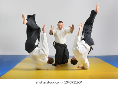 Martial art of Aikido . Demonstration of Aikido techniques .