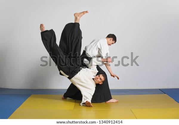 Martial Art Aikido Demonstration Aikido Techniques Stock Photo (Edit