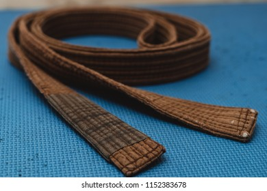 Martial Arts Brown Belt Brazilian JiuJitsu spiral close up